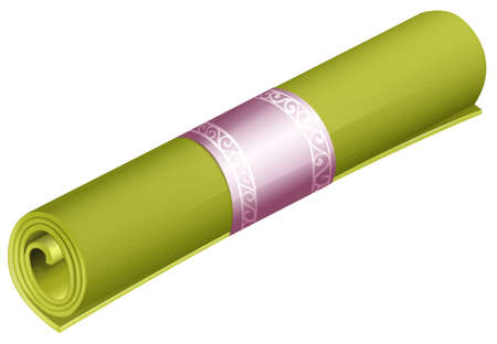 cushioned: Green rolled yoga mat on white background