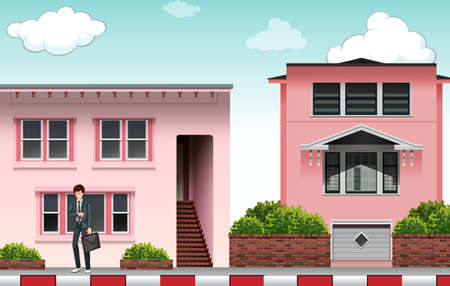 modern house: Front view of a modern pink color house