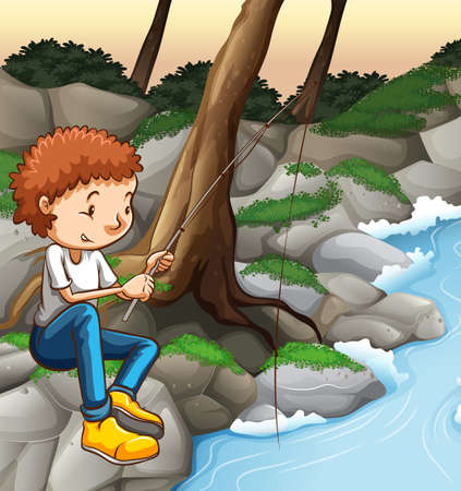 alone man: Man fishing alone by the river Illustration