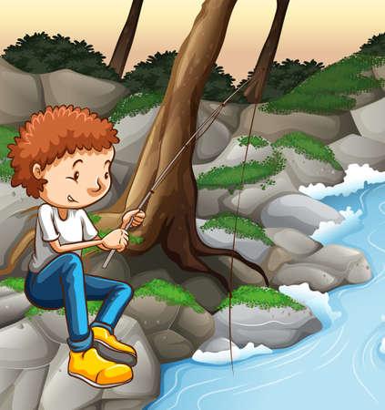 man fishing: Man fishing alone by the river Illustration