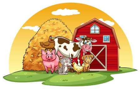 Dieren die in de boerderij