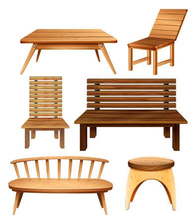 muebles de madera: Sillas de madera y una mesa en el diseño clásico