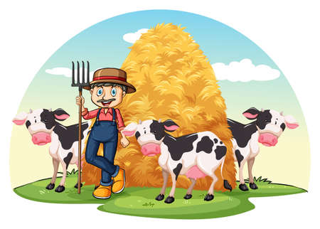farm equipment: Farmer with cows standing with a hay Illustration