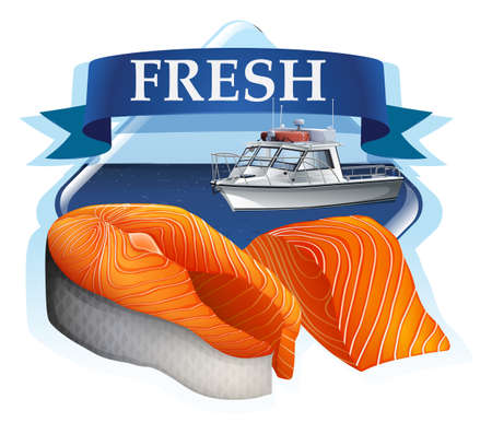 salmon fillet: Salmon fillet with banner and ocean in the background Illustration