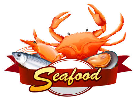 All kind of seafood with red banner