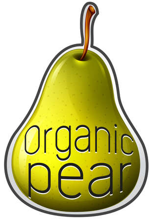 wordings: Flashcard of a pear with text Organic Illustration