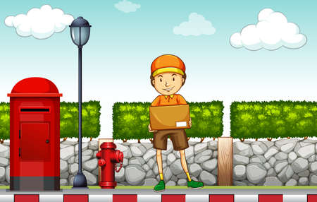 deliveryman: Postman carrying a box on the road Illustration