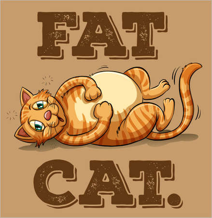 honest: Fat cat looks sleepy and tired Illustration