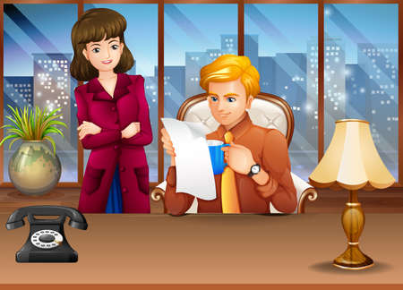 talking cartoon: Man and woman in a meeting room with city view behind