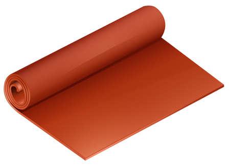 mat: Rolled orange yoga mat on a white background