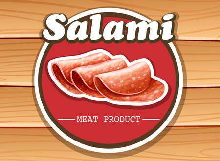 Slices of salami sign on wooden background Illustration