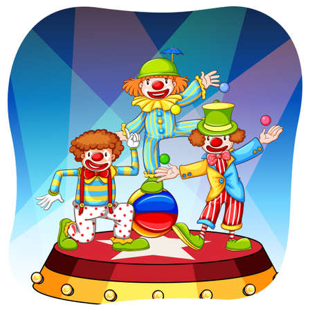 circus stage: Three clowns performing on a round shaped stage Illustration