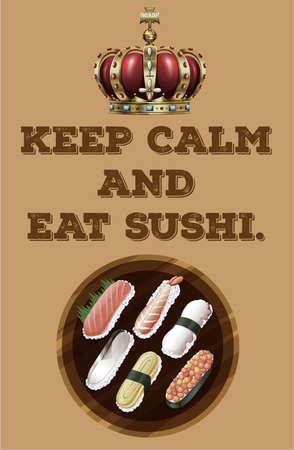 egg roll: Sushi set on the plate Illustration