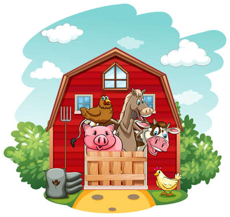 farm animals: Farm animals living in the barnhouse