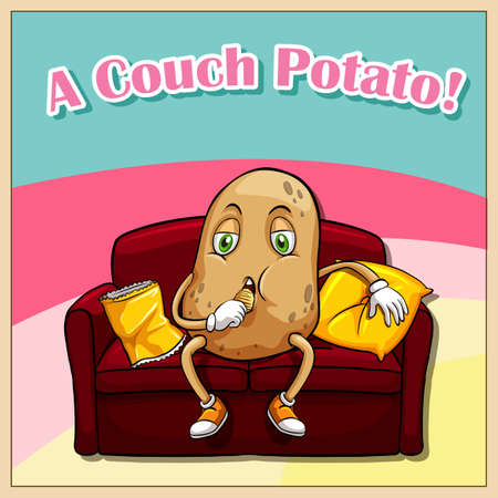 couch potato: English idiom saying a couch potato Illustration