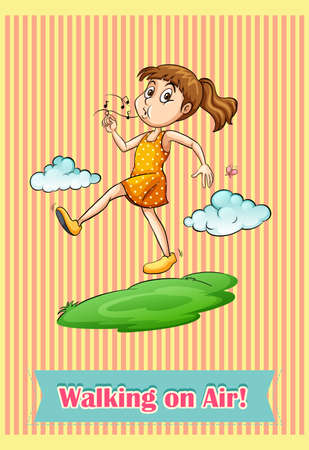 saying: English idiom saying walking on air Illustration