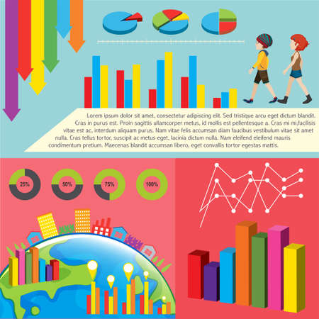 Different kind of graphs with text Illustration