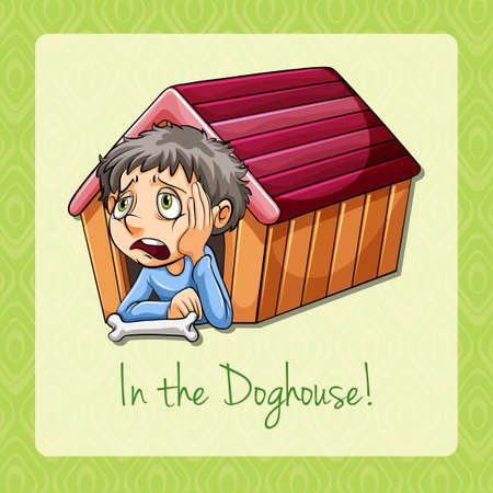 troublesome: English idiom in the doghouse Illustration