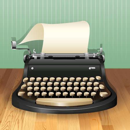 hoja en blanco: M�quina de escribir con la hoja de papel en blanco
