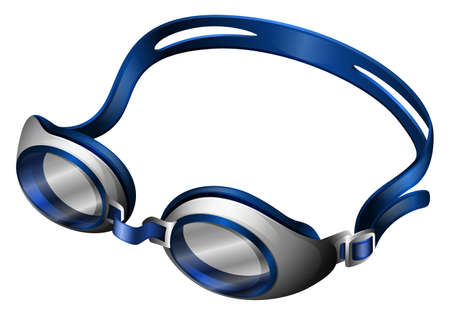 rubber band: Blue swimming goggles with rubber band
