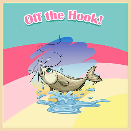 off the hook: English idiom saying off the hook Illustration