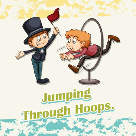 difficult situation: Idiom saying jumping through hoops Illustration