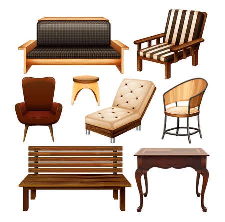 silla de madera: Diferentes tipos de sillas y mesa Vectores