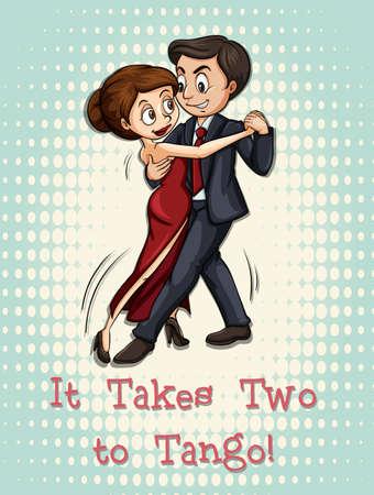 takes: Idiom illustration of it takes two to tango