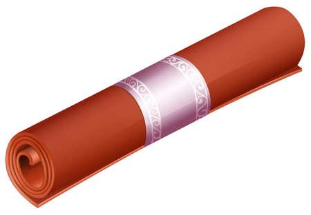 mats: Rolled mat in orange color Illustration