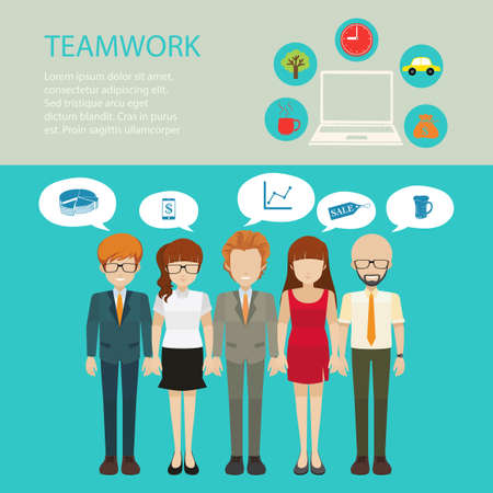 inforgraphic: Infographic teamwork with picture and text Illustration