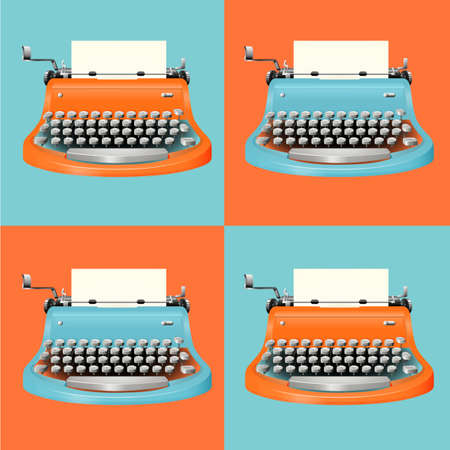 Typewriter in blue and orange