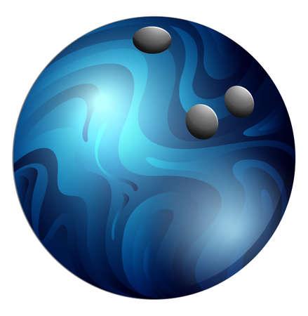 bowling: Single bowling ball with blue pattern
