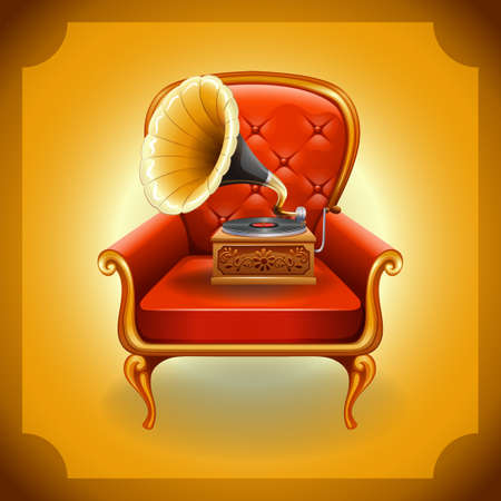 clipart speaker: Classic gramophone on red armchair