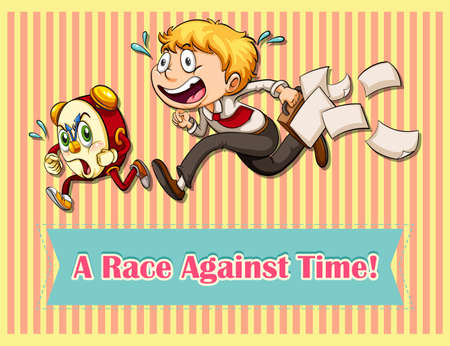 against: Idiom saying a race against time Illustration