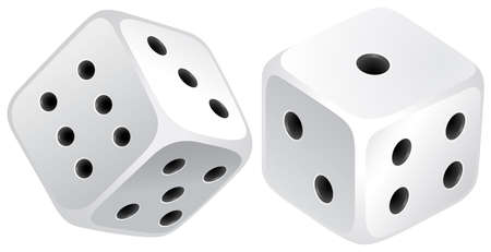 countable: Two white dices with black dots