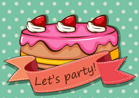 cakes and pastries: Party cake with text on banner