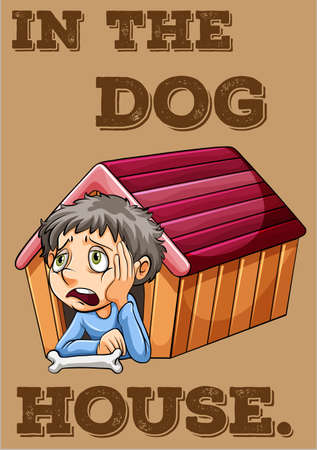 idiom: Idiom illustration of in the dog house with
