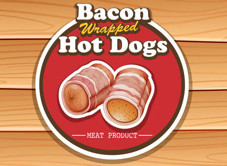 plywood: Bacon wrapped hot dog tag on wooden background