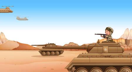 brandweer cartoon: Soldaat op de tank gevechten in het veld