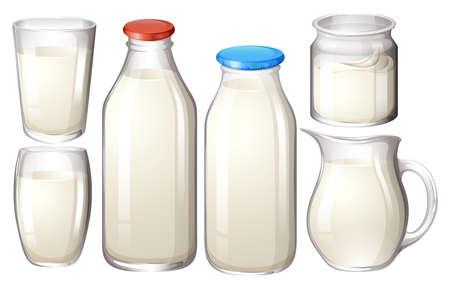 Leite em copos e garrafas