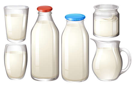 milk bottle: Milk in glasses and bottles