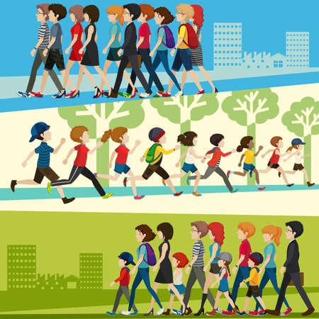 ni�os caminando: Infogrphic de las personas adultas y ni�os en muchos lugares