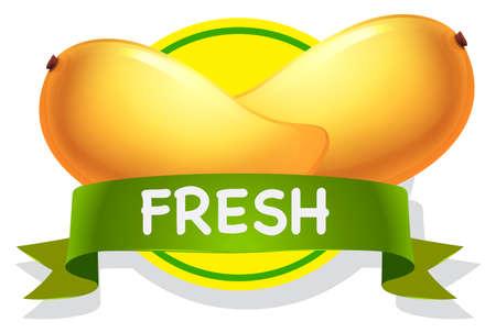cartoon fruit: Fresh yellow mango with grenn banner