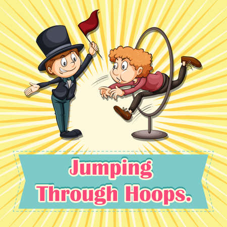 hoops: Idiom saying jumping through hoops Illustration