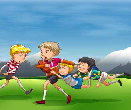 touch down: People playing rugby in the field Illustration