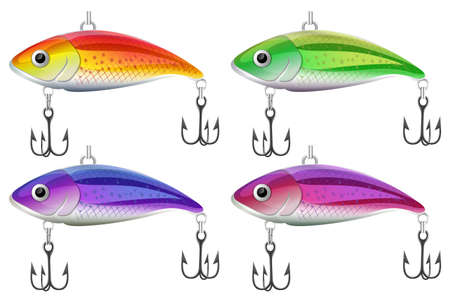 cartoon fishing: Lure fishing in four different colors