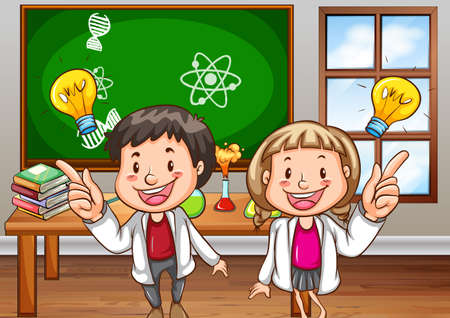 hypothesis: Boy and girl studying science in the class Illustration