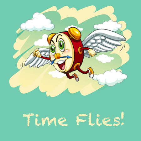 time fly: Idiom illustration saying time flies Illustration