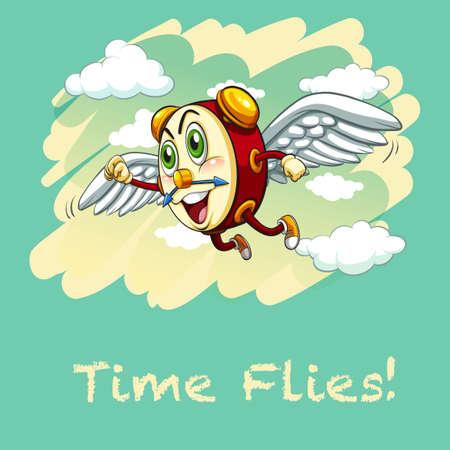 time flies: Idiom illustration saying time flies Illustration