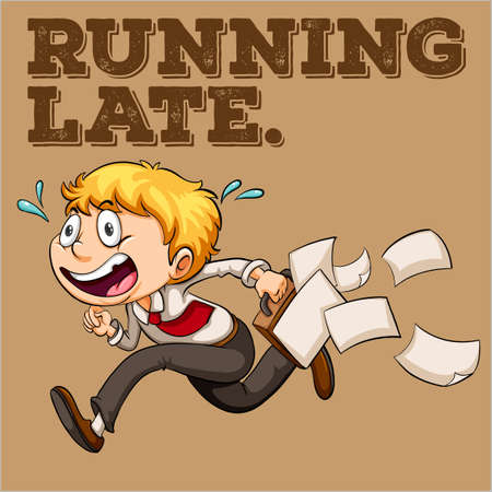 running late: Man with briefcase running late